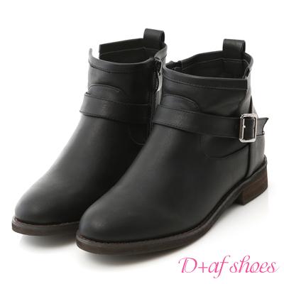 D+AF 熱銷指定.單釦環內增高軍風短靴*黑