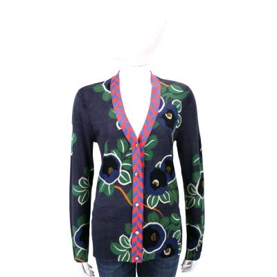 TORY BURCH Lorna Floral 綠葉藍印花美麗諾羊毛針織外套