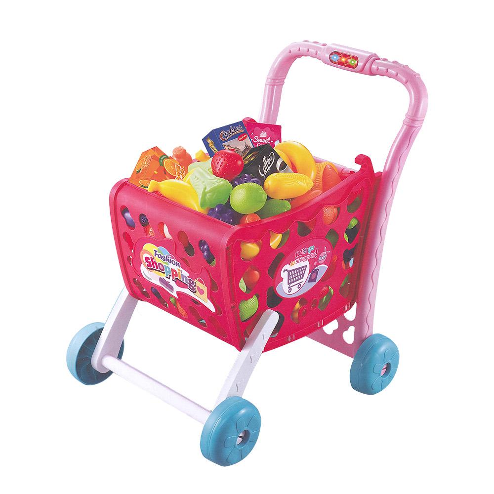 家家酒玩具聲光購物推車粉紅色5961A