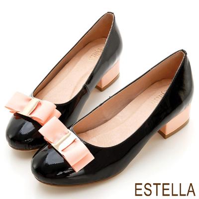 ESTELLA-浪漫女孩-全真皮雙色金釦蝴蝶低跟鞋