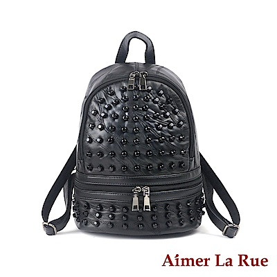 Aimer La Rue 後背包 羊皮簡約ZIP裝飾鉚釘系列(黑色)