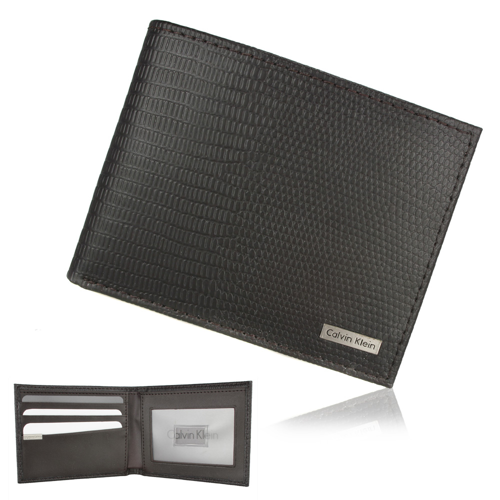 Calvin Klein 蜥蜴紋皮革透明窗格短夾鑰匙圈禮盒-深咖色