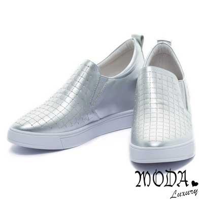休閒鞋-MODA-Luxury-個性潮流閃耀水鑽牛皮內增高休閒便鞋-銀