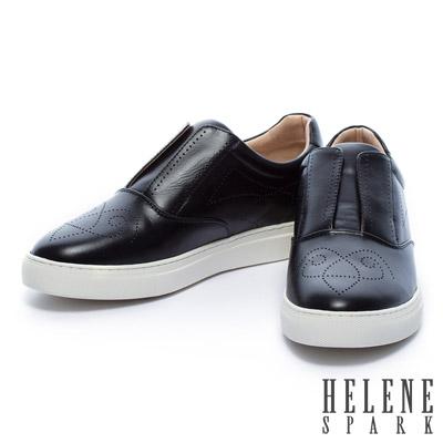 休閒鞋-HELENE-SPARK-獨特不規則沖孔全真皮休閒鞋-黑