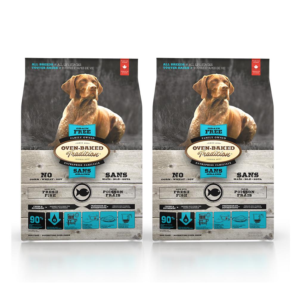 Oven-Baked烘焙客 無穀魚肉配方(大顆粒) 全犬 天然糧 5磅 x 2入
