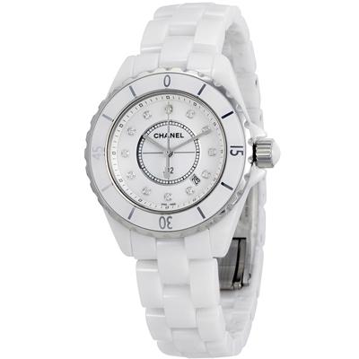 CHANEL 香奈兒 J12 (H1628) 12顆鑽面陶瓷錶-白/33mm