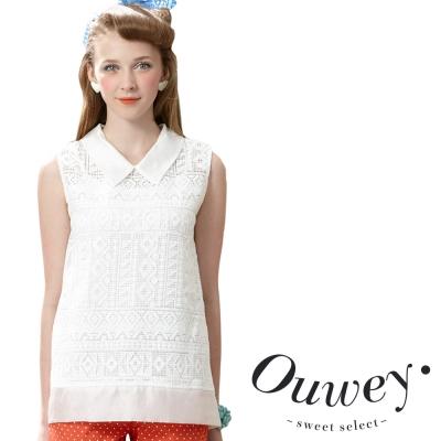 OUWEY歐薇-蕾絲娃娃雪紡無袖襯衫-白