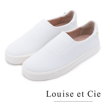 Louise et Cie  輕盈首選 毛料素面百搭懶人鞋-白色