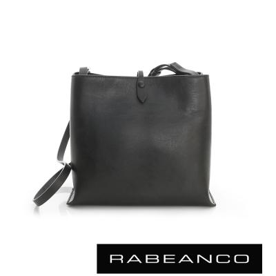 RABEANCO 迷時尚牛皮系列經典方型肩背包(大) - 黑色