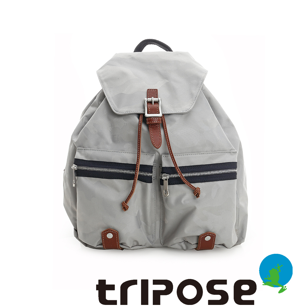 tripose 迷彩系列輕休閒束口後背包 淺灰