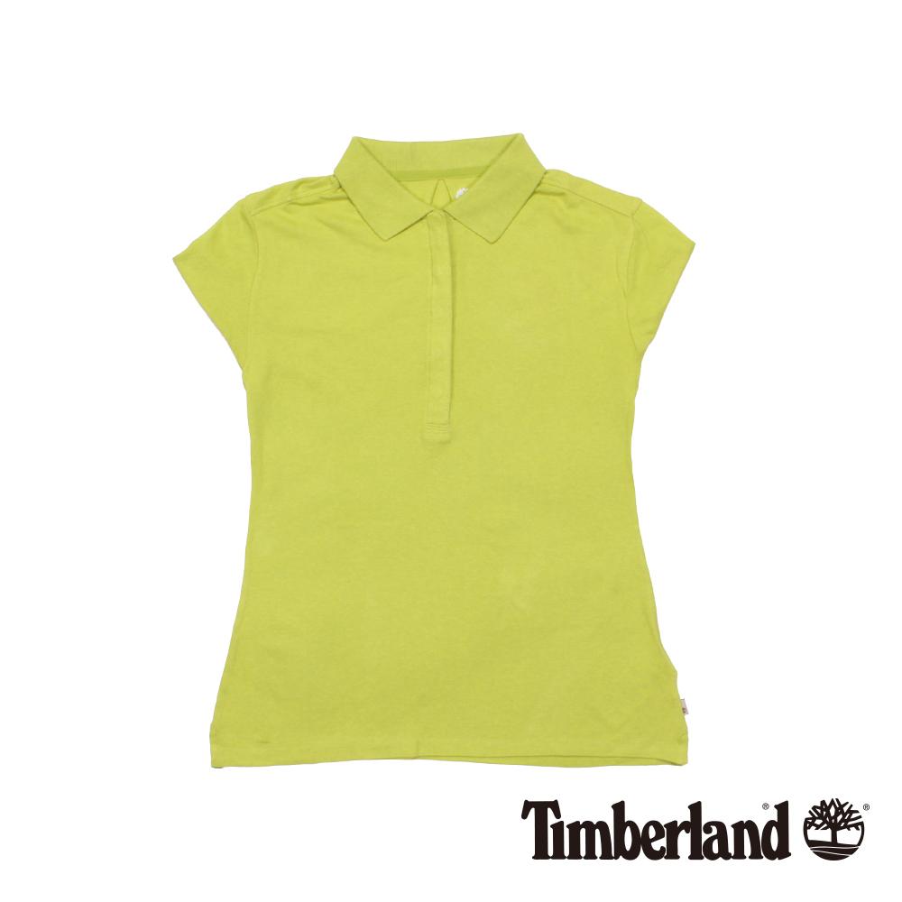 Timberland女款蘋果綠素面純棉短袖Polo衫