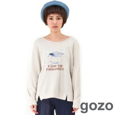 gozo-斑駁設計飛行船圖樣造型上衣-淺卡其