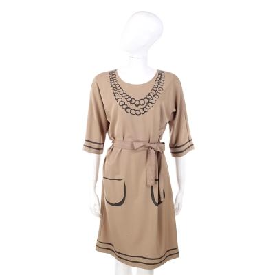 MOSCHINO 駝色項鍊塗鴉設計七分袖洋裝(附腰帶)