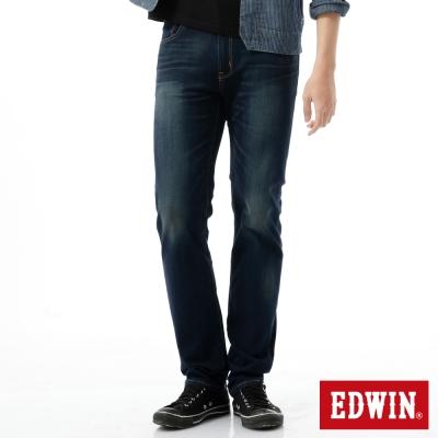 EDWIN-大尺碼窄直筒-迦績褲JERSEYS新紅布邊牛仔褲-男-原藍磨