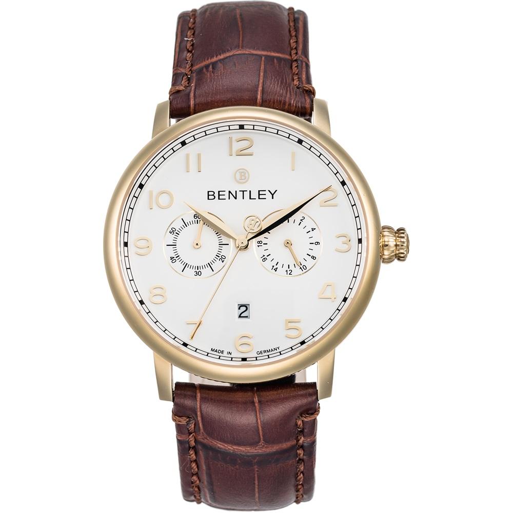 BENTLEY 賓利 Denarium系列 羅馬簡約風尚手錶-白x咖啡/42mm