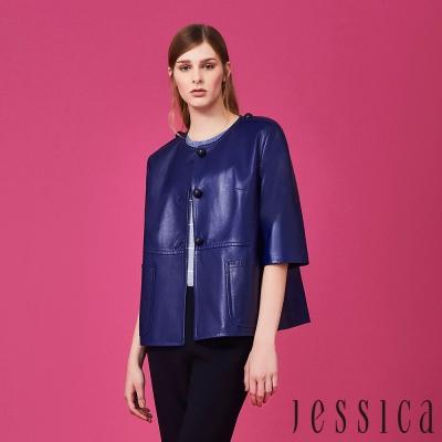 【JESSICA】俐落剪裁排釦圓領外套(藍)