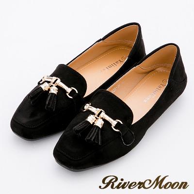 River&Moon時尚品味.韓式垂墜流蘇可踩踏樂福鞋-黑