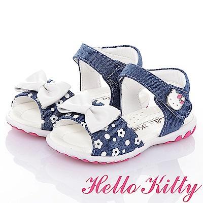 HelloKitty牛仔布系列 手工鞋超纖減壓防滑涼鞋童鞋-藍