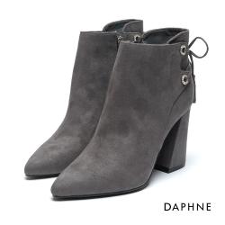 達芙妮DAPHNE 短靴-絨布水鑽環孔綁帶粗高跟踝靴-灰