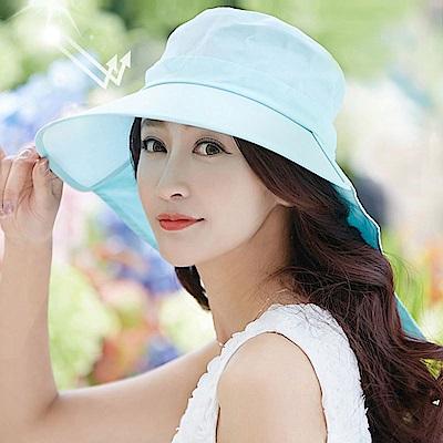 【幸福揚邑】清爽優雅抗UV護頸大帽檐可捲收露馬尾遮陽帽-淺藍