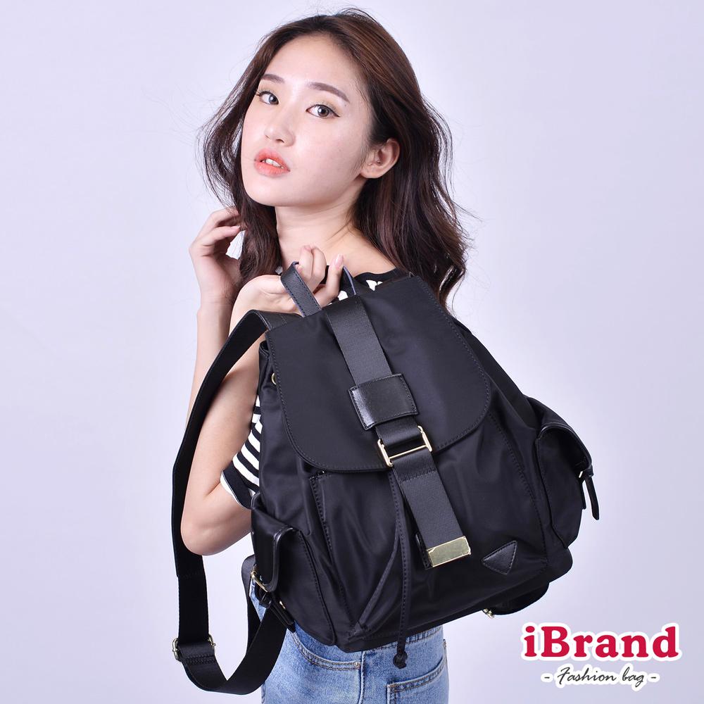 iBrand 韓系時尚簡約真皮尼龍後背包-黑