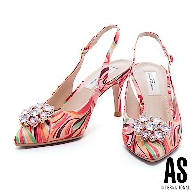 高跟鞋 AS 夏日美艷鑽飾設計印花布後繫帶高跟鞋-桔