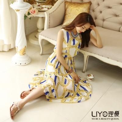 LIYO理優洋裝鎖鍊印花百折雪紡洋裝(黃)