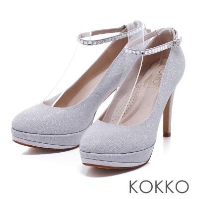 KOKKO手工婚鞋優雅女神水鑽繫帶防水台高跟鞋