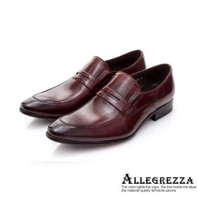ALLEGREZZA-真皮男鞋-吸睛魅力-仿舊刷色牛皮尖頭便鞋  咖啡紅色