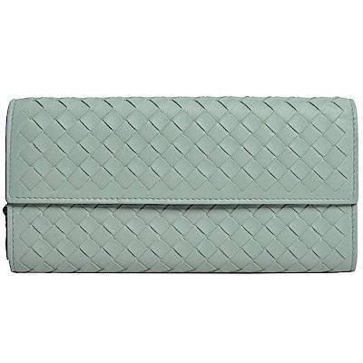 BOTTEGA VENETA 小羊皮手工編織釦式拉鍊零錢長夾(灰綠色)