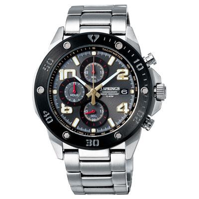 J.SPRINGS系列  伊斯坦堡三眼計時時尚腕錶-黑灰X銀/45mm