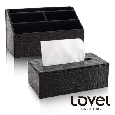 LOVEL-經典鱷魚紋皮革收納家飾-梯形4格置物盒-面紙盒