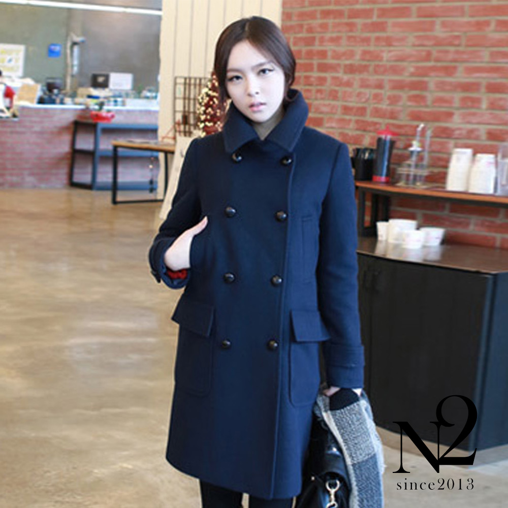 外套 翻領雙排釦寬鬆中長款大衣外套(藏青)  N2