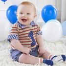Baby Aspen BAS 紅灰條紋1歲紀念3件謎月禮盒組