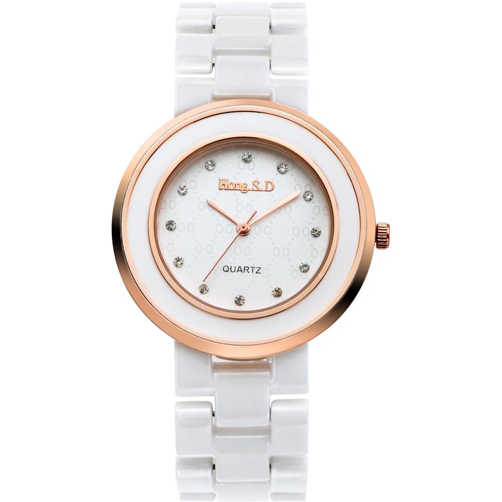 amour 純白美學亮鑽時尚腕錶-米白x玫瑰金/38mm