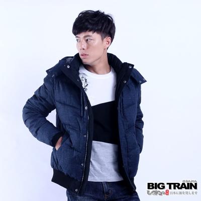BIG TRAIN 男用仿毛呢絲棉外套-男-藍黑印紋