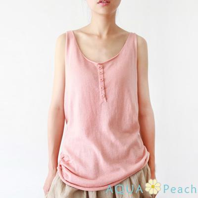U領鈕釦列卷邊針織棉背心 (共五色)-AQUA Peach