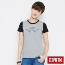 EDWIN 復古趣味配色短袖T恤-女-麻灰
