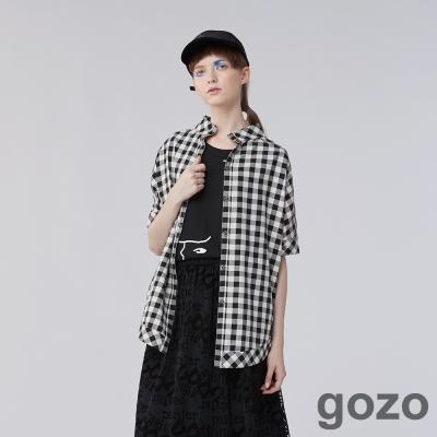 gozo休閒格紋寬版襯衫上衣 (三色)