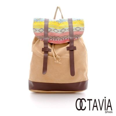 OCTAVIA 8 - 幾何馬雅 雙插鞘後背包 - 原色棕