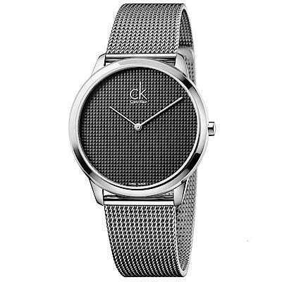 Calvin Klein 極簡俐落米蘭帶石英腕錶(K3M2112X)-黑色/40mm