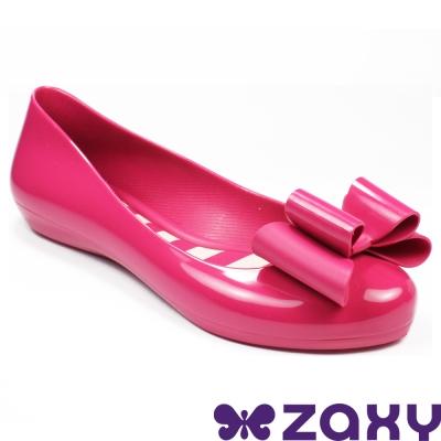 Zaxy 巴西 女 POP BOW 法式蝴蝶結娃娃鞋(亮麗桃)