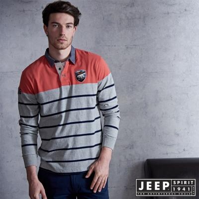 JEEP 美式經典條紋牛仔領POLO衫-橘