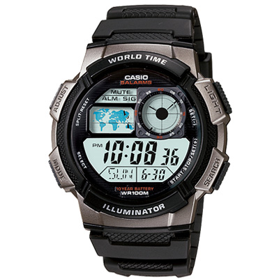 CASIO 世界之城電子數位膠帶錶(AE-1000W-1B)-48.1mm