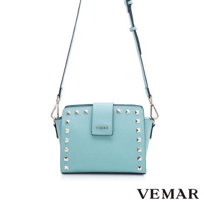 VEMAR奢華炫亮卯釘肩揹包-Tiffany藍