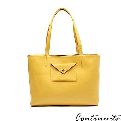 Continuita 康緹尼 頭層牛皮日本率性女孩信封包-黃色