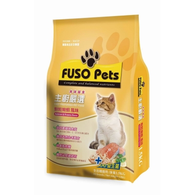 FUSO Pets 主廚嚴選美味貓糧 鮮鮭嫩蝦風味 1.5kg