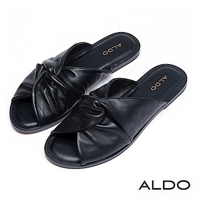 ALDO 原色真皮蝴蝶雙扭結露趾休閒涼拖鞋~尊爵黑色