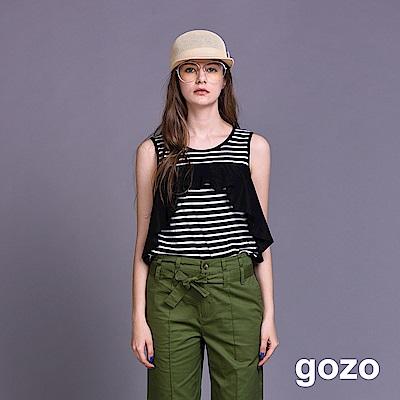 gozo 弧形波浪拼接條紋無袖背心(二色)