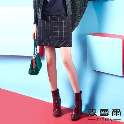 麥雪爾 格子立體紋邊羊毛短裙